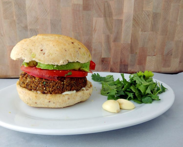 Vegan Burger Recipe, all assembled!