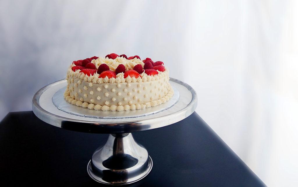 chocolate layer cake recipe on pedestal