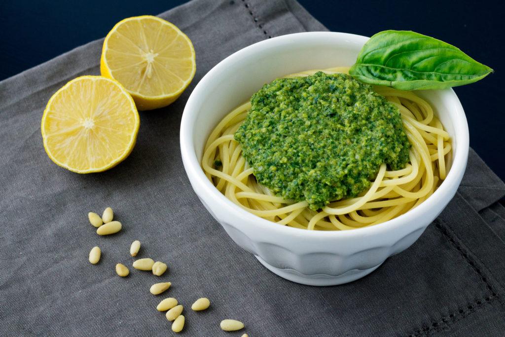 vegan pesto recipe on pasta