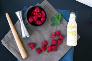 table shot muddled raspberry vegan vodka drink recipe