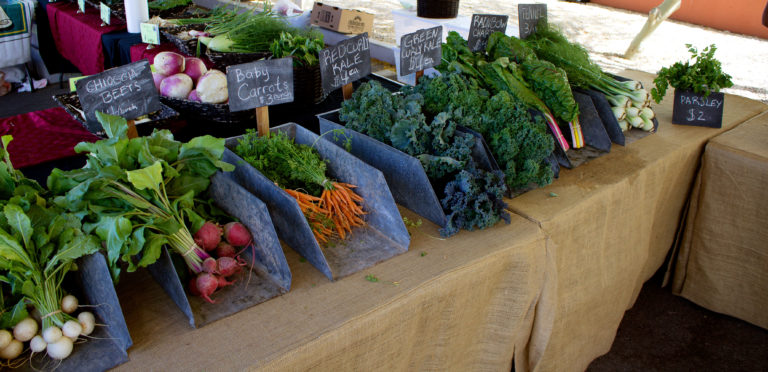 fresh veggies at farmers market
