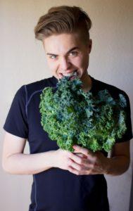 cameron eating kale