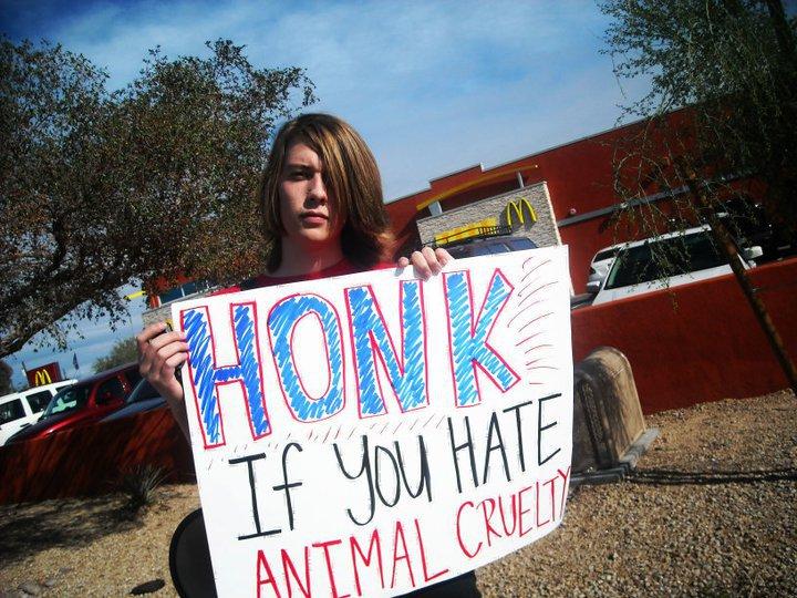 nick protesting mcdonalds
