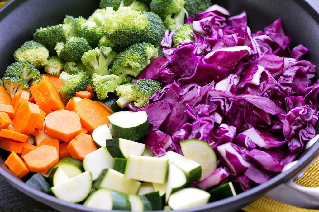 cut veggies for vegetable stir fry recipe with sambal