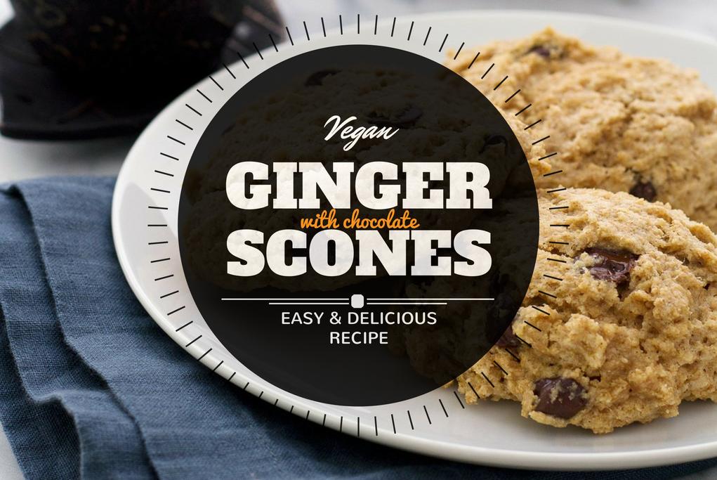 Vegan scones recipe with ginger and chocolate