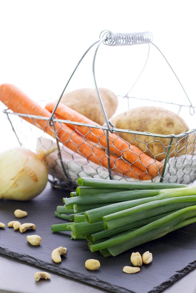 ingredient basket for vegan creamy potato soup recipe