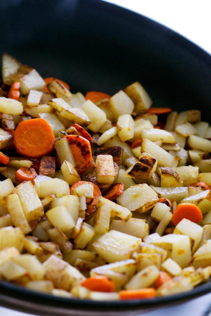 cooked carrots and potatoes for vegan creamy potato soup recipe