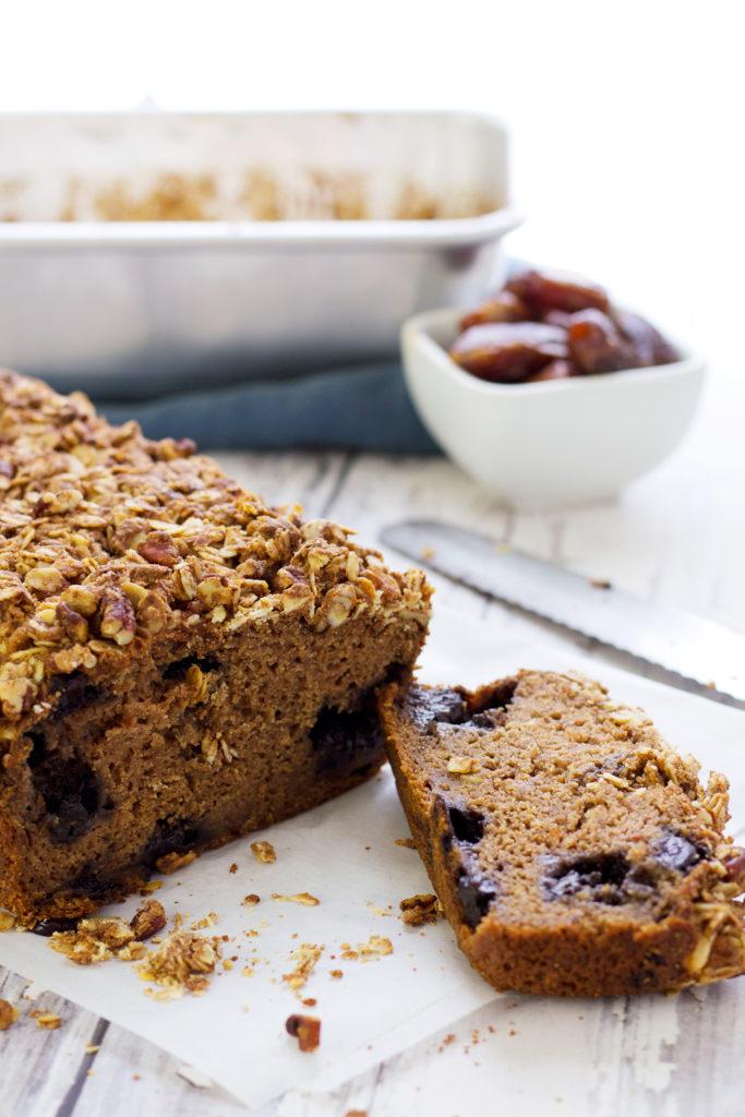 cut vegan blueberry muffin loaf