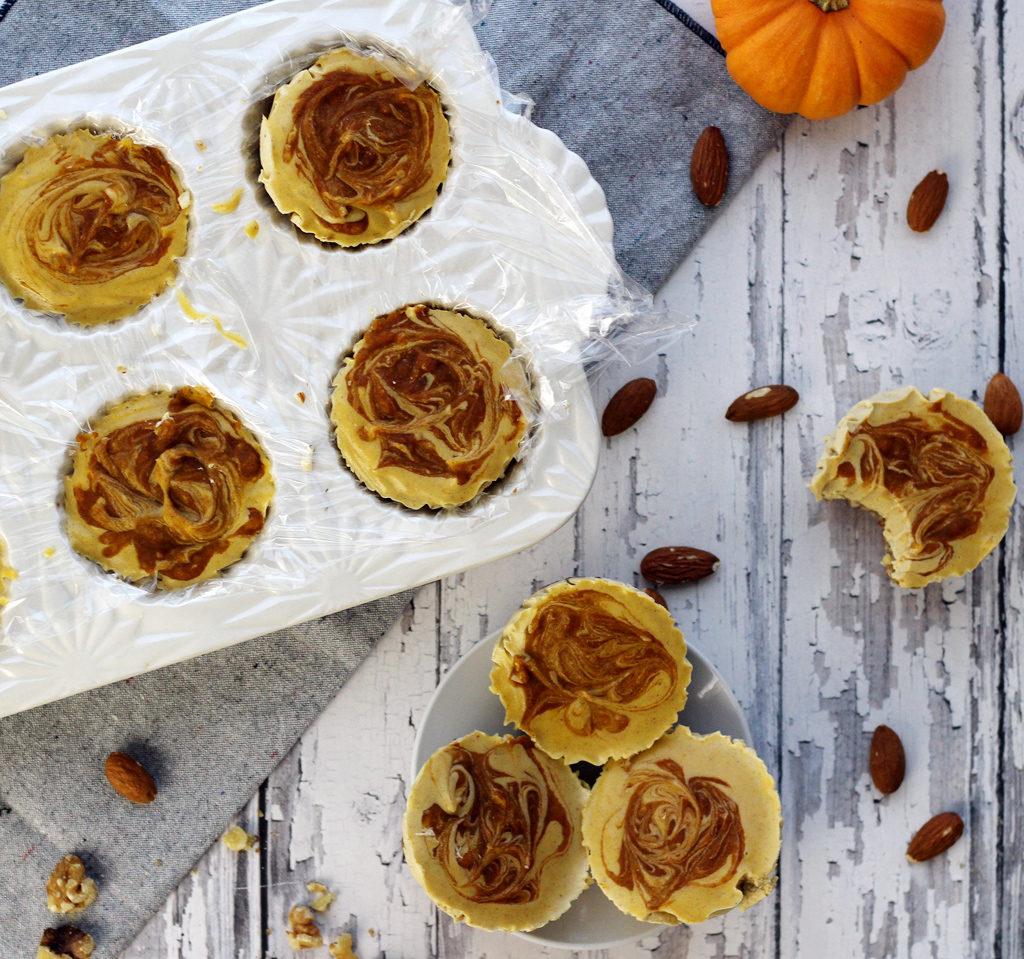 vegan pumpkin cheesecake bites overhead