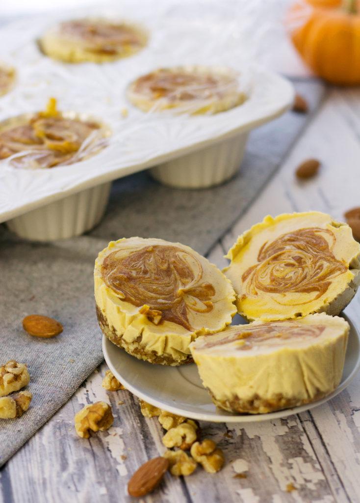 vegan pumpkin cheesecake bites with cinnamon swirl