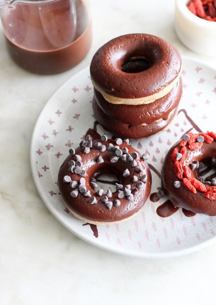 vegan chocolate dipped donuts