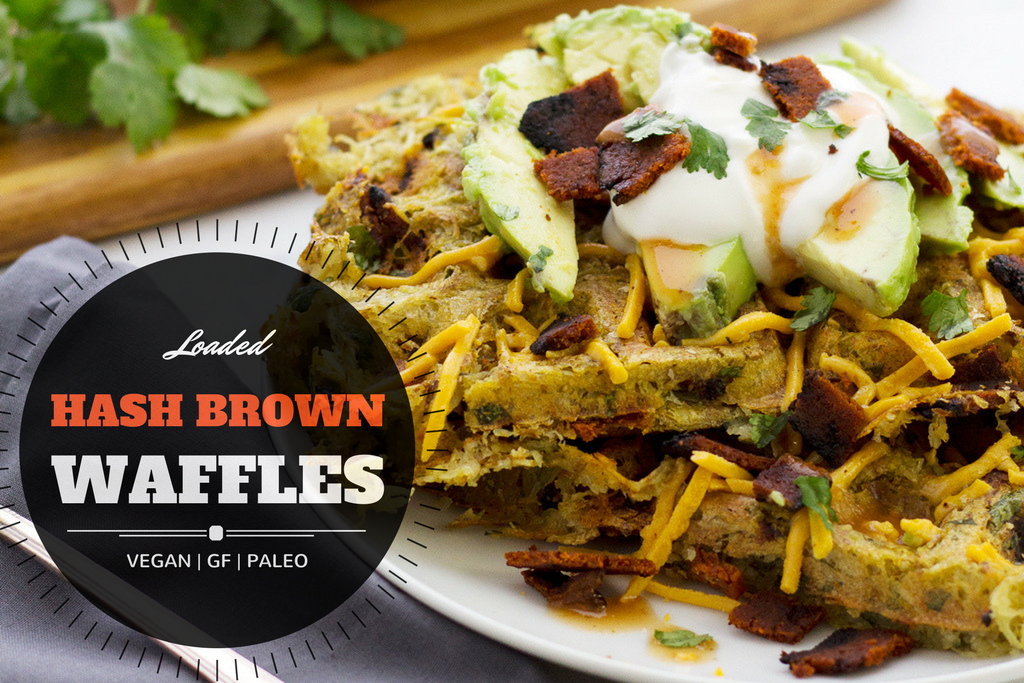 vegan loaded hash brown waffles