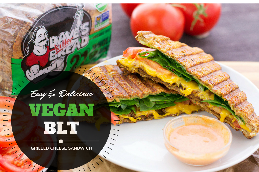 easy and delicious vegan BLT Grilled cheese sandwich recipe
