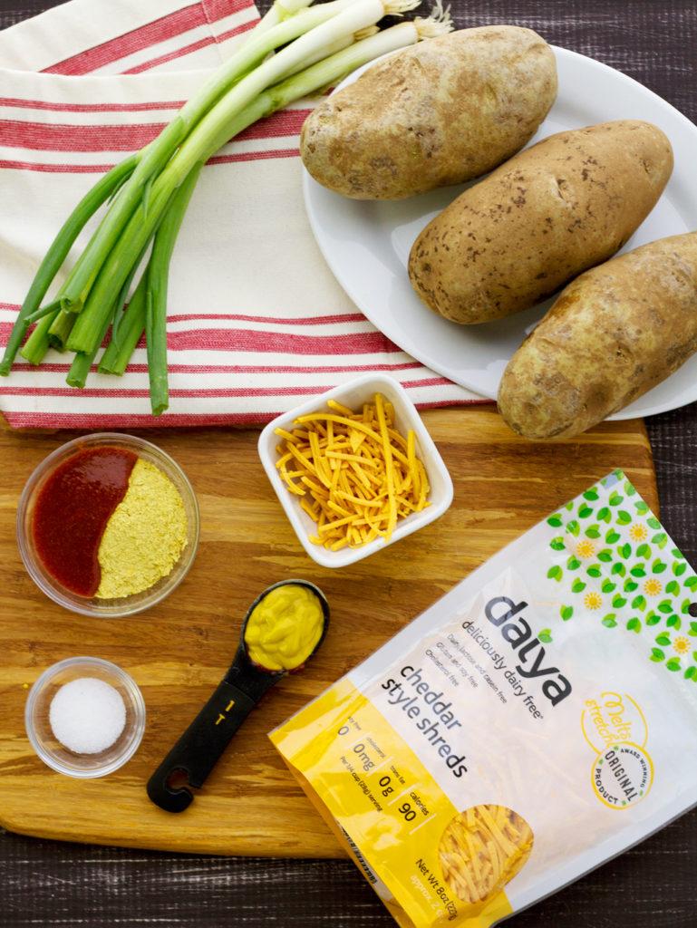 ingredients for easy vegan stuffed potato skins