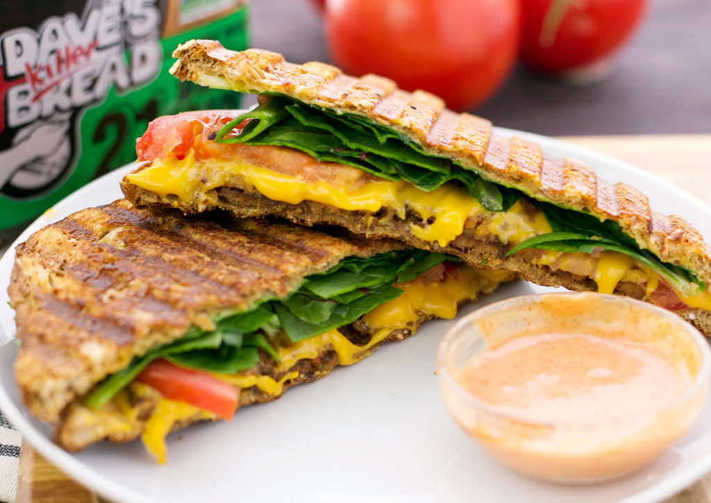 closeup of vegan blt grilled cheese sandwich