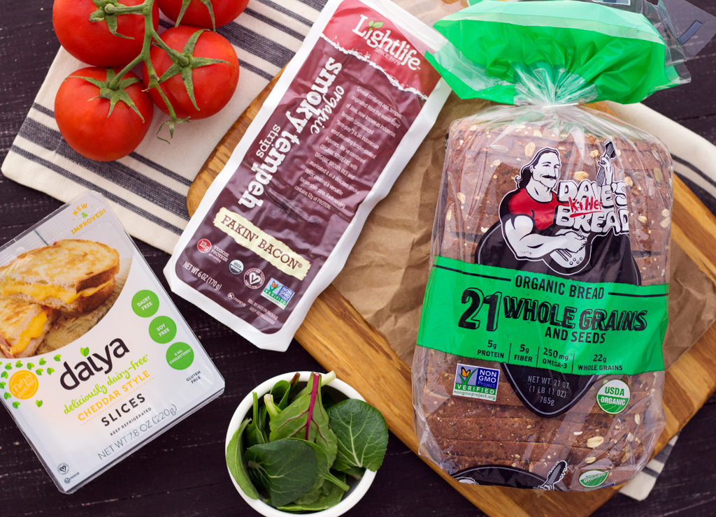 Ingredients for easy vegan blt grilled cheese sandwich