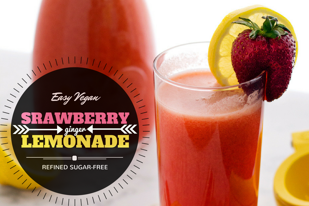 Easy vegan strawberry ginger lemonade recipe. Sweetened with maple syrup, no refined sugar needed!