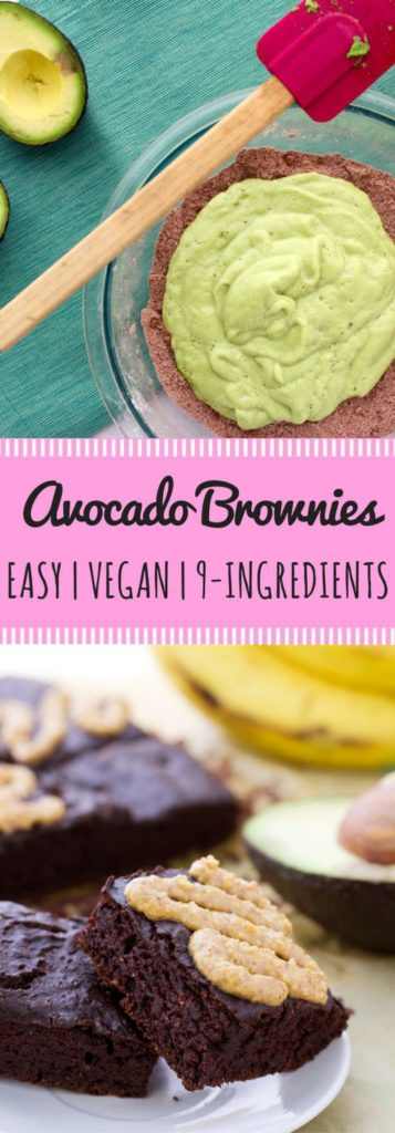 Easy Vegan Avocado Brownie Recipe with bananas and almond butter. Best of all, they're made using a vitamix blender and one bowl!