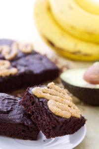 Beautiful texture on vegan avocado brownie recipe