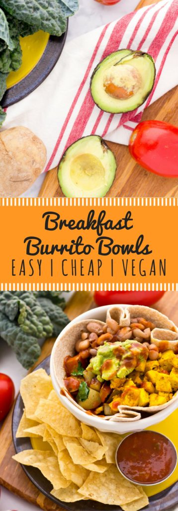 Vegan Breakfast Burrito Bowl with organic tofu scramble! This is my absolute favorite easy, cheap, vegan breakfast recipe on a budget