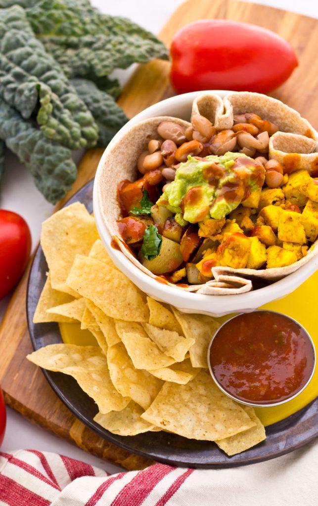Vegan breakfast burrito bowl with organic tofu scramble.. my favorite vegan budget breakfast recipe! :)