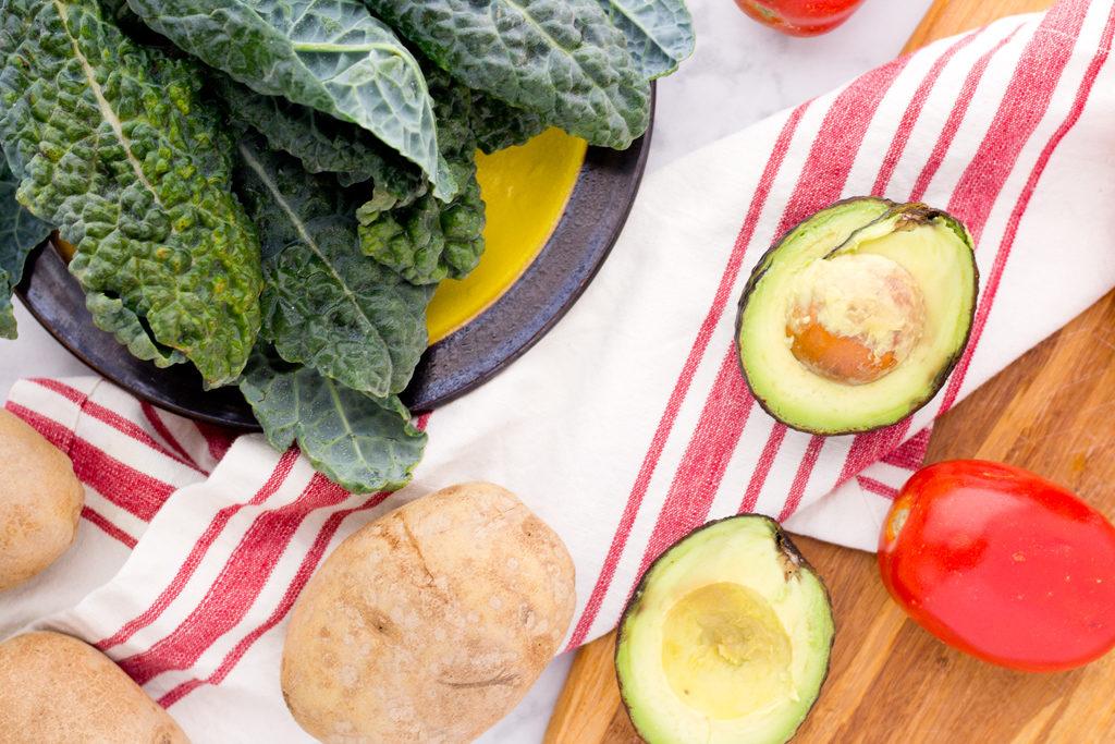 Ingredients for vegan breakfast burrito bowl