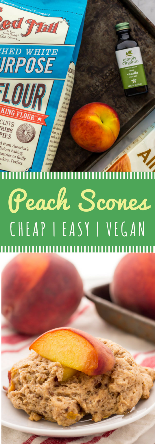 Easy vegan peach scones recipe! Perfect for a quick breakfast or even as a healthy snack