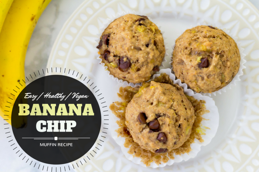 Easy vegan banana chip muffin recipe
