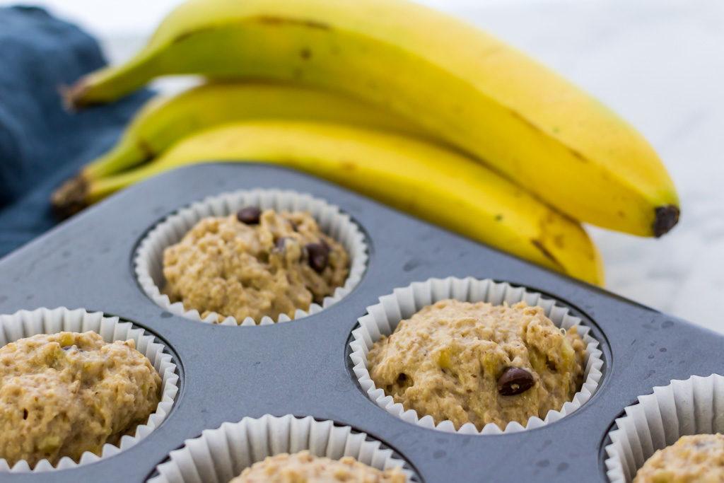 Uncooked vegan banana chip muffin recipe