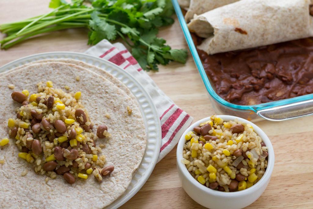 Assembling easy vegan enchilada recipe from scratch