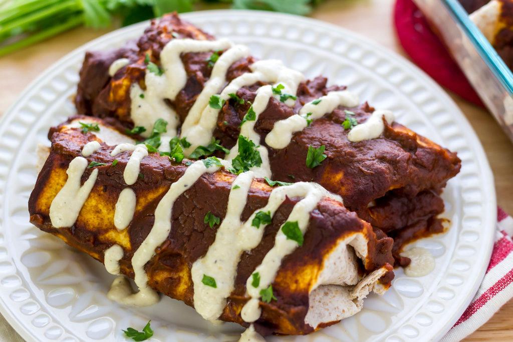 Closeup of easy vegan enchilada recipe from scratch