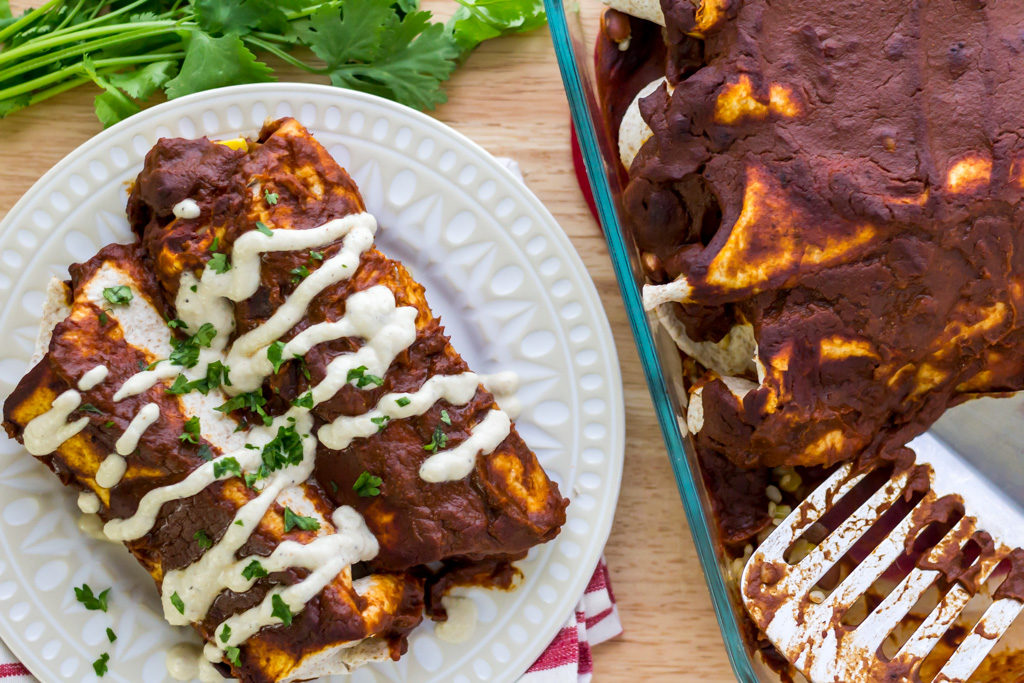 Easy vegan enchiladas from scratch overhead