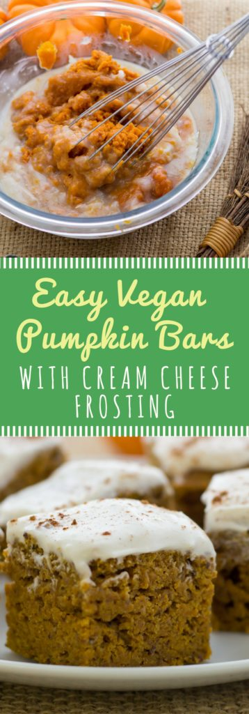 Easy vegan pumpkin bar recipe with cream cheese frosting. Lightly sweetened treat for breakfast or a midnight snack! These babes are vegan, refined sugar-free, easy, and delicious!