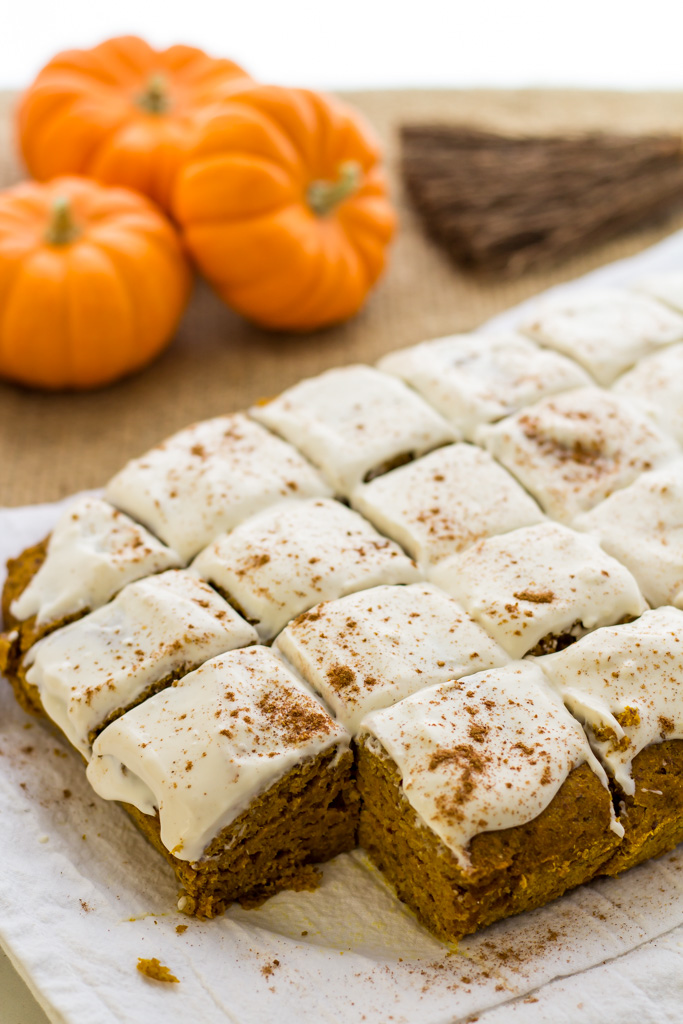 easy vegan pumpkin bars frosted