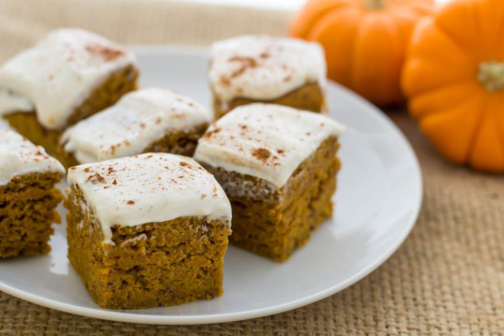 Easy vegan pumpkin bars with cream cheese frosting