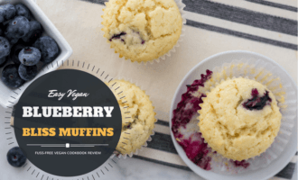Vegan blueberry muffin recipe from fuss-free vegan cookbook