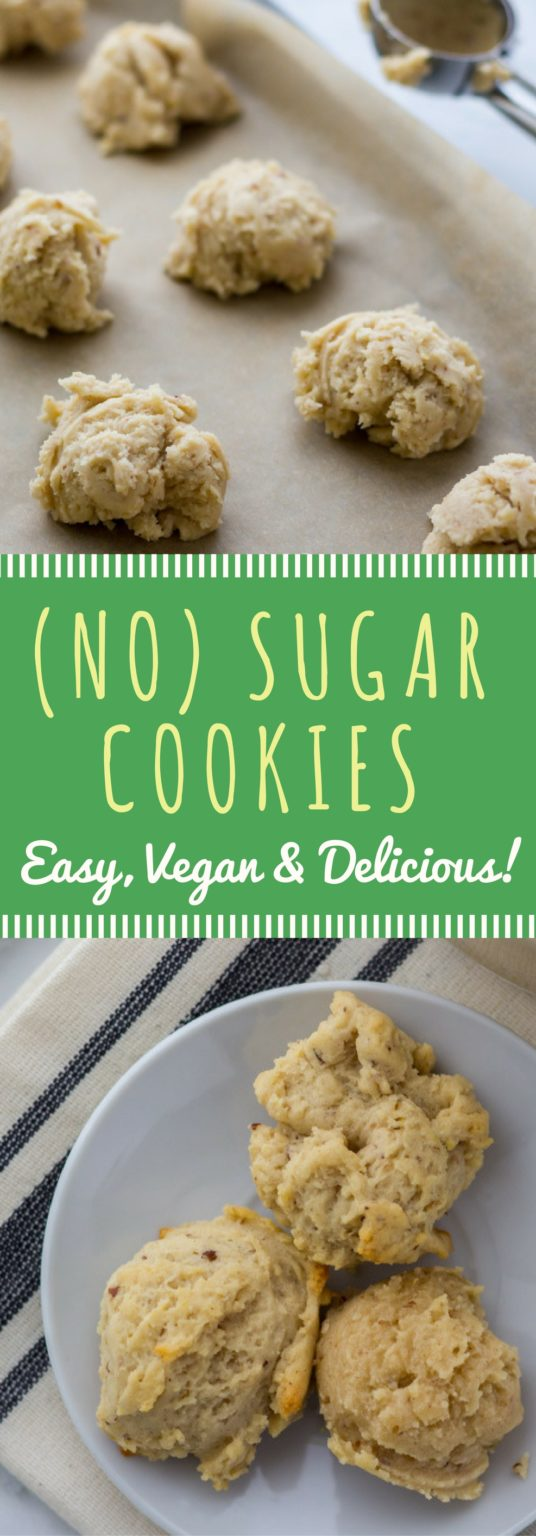 Easy vegan no sugar cookies recipe! How can you have a sugar cookie that's refined-sugar-free? Easy! Maple syrup! Easy, vegan, healthy, and delicious baking for the holiday season