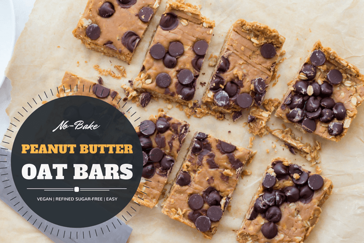 Easy vegan Peanut Butter Oat Bars. No bake, refined sugar-free, and delicious! Perfect for breakfast, snack, or dessert.