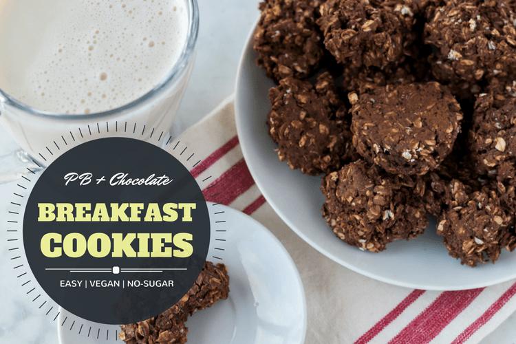 Easy vegan peanut butter and chocolate breakfast cookies recipe. Refined sugar free!